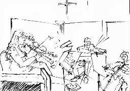 R Izdebski's sketch of the Ensemble in action